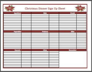 christmas dinner sign up sheet frogdiva dot com