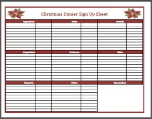 Christmas Dinner Sign Up